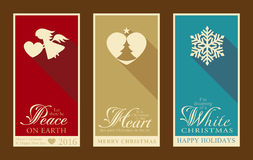 Set of flat Christmas and Happy New Year labels. Set of 3 Christmas and Happy New Year banners with festive designs of Christmas tree, snowflake, angel and heart Stock Photography