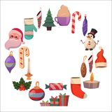Set of flat Christmas icons for banners Xmas Happy new year Santa Claus Christmas decoration Christmas ball Flat Stock Image