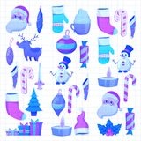Set of flat Christmas icons for banners Xmas Happy new year Santa Claus Christmas decoration Christmas ball Flat Stock Photography