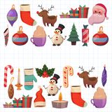 Set of flat Christmas icons for banners Xmas Happy new year Santa Claus Christmas decoration Christmas ball Flat Stock Images