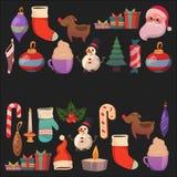 Set of flat Christmas icons for banners Xmas Happy new year Santa Claus Christmas decoration Christmas ball Flat Stock Photos