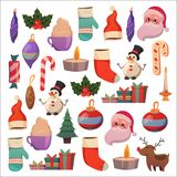 Set of flat Christmas icons for banners Xmas Happy new year Santa Claus Christmas decoration Christmas ball Flat. Set of flat Christmas icons for banners Xmas Stock Photography