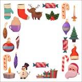 Set of flat Christmas icons for banners Xmas Happy new year Santa Claus Christmas decoration Christmas ball Flat Stock Photo
