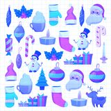Set of flat Christmas icons for banners Xmas Happy new year Santa Claus Christmas decoration Christmas ball Flat Royalty Free Stock Images