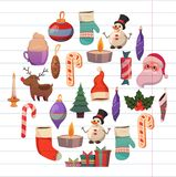 Set of flat Christmas icons for banners Xmas Happy new year Santa Claus Christmas decoration Christmas ball Flat Royalty Free Stock Photography