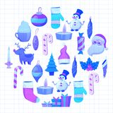 Set of flat Christmas icons for banners Xmas Happy new year Santa Claus Christmas decoration Christmas ball Flat Royalty Free Stock Photos