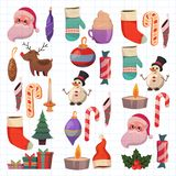 Set of flat Christmas icons for banners Xmas Happy new year Santa Claus Christmas decoration Christmas ball Flat Royalty Free Stock Image