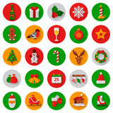 Set of flat Christmas Icons in circles with shadow Royalty Free Stock Photography
