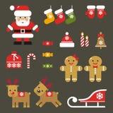 Set of flat Christmas icons Stock Photography