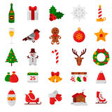 Set of Flat Christmas Icons. Holiday Signs and Symbols. Stock Image