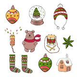 Set of flat Christmas and new year icons. royalty free illustration