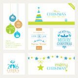 Set of flat Christmas and New Years banners on white Stock Photo