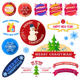 Set of flat Christmas vintage labels. With long shadow Vector Illustration