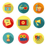 Set of flat cinema icons. Movie elements on white background. Set of vintage cinema labels. Posters, stamps, banners and design elements. Vector illustration Royalty Free Stock Photos