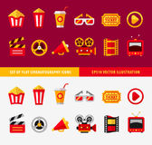 Set of flat cinema icons for online. Movie theater  illustration. Transparent objects used lights and shadows drawing Stock Image