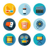 Set of flat cinema and movie icons. Royalty Free Stock Image