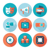 Set of flat cinema and movie icons. Stock Images