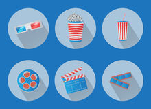 Set of flat cinema vector icons Stock Images