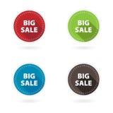 Set of 4 flat circle buttons. Big sale Stock Image
