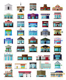 Set of the flat city buildingss and shops stock illustration