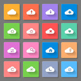 Set of flat cloud icons Stock Photo