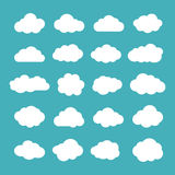 Set of Flat Clouds Icons. Cloud Shapes collection. Royalty Free Stock Photo