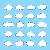 Set of Flat Clouds Icons. Cloud Shapes collection. Royalty Free Stock Image