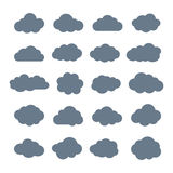 Set of Flat Clouds Icons. Cloud Shapes collection. Royalty Free Stock Photos