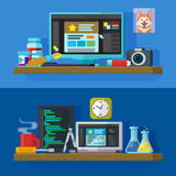 Set of flat color banners design concepts for web studio. royalty free illustration