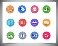 Set of flat color buttons. stock photography
