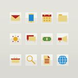 Set of flat color icons Stock Photos