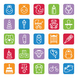 Set of flat color icons baby and accessories Stock Images