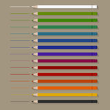 Set of flat Color Pencils Royalty Free Stock Image