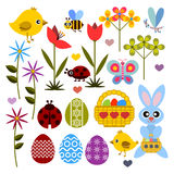 Set of flat colored icon for Easter Royalty Free Stock Photography