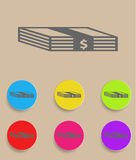 Set of flat colored simple web icons bundle of. Bank notes, money, hard cash Stock Photo