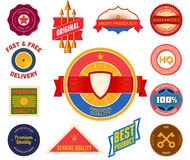 Set of flat colored vintage labels. Collection 8 Stock Photos