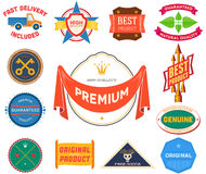 Set of flat colored vintage labels. Collection 9 Royalty Free Stock Image