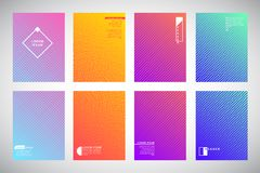 Set of flat colorful gradient backgrounds, folder, flyer template Stock Photography