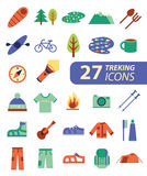 Set of flat colorful hiking, trekking and camping icons. Outdoor Stock Images