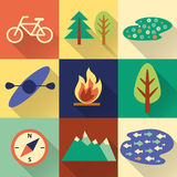 Set of flat colorful hiking, trekking and camping icons. Royalty Free Stock Photos