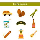 Set of flat colorful icons on Cuba theme Royalty Free Stock Photos