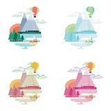 Set of flat colorful landscape. Mountains, balloon, ship. Collection of vector illustration in flat style. Landscape, nature, mountains, balloon, ship trees Stock Photo