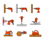 Set of flat colorful repair tool icons. Stock Images
