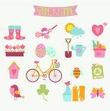 Set of 16 flat colorful spring icons Royalty Free Stock Photography