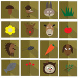 Set of flat colorful vector animal icons Stock Photography