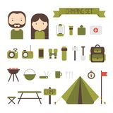 Set of flat colorful vector camping equipment Royalty Free Stock Photography