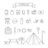 Set of flat colorful vector camping equipment Stock Photography