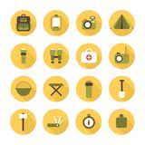 Set of flat colorful vector camping equipment Stock Photo