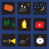 Set of flat colorful vector camping equipment symbols and icons Royalty Free Stock Photo