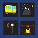 Set of flat colorful vector camping equipment symbols and icons Stock Photos